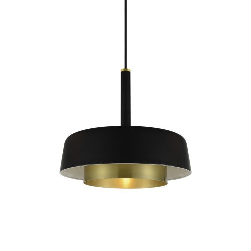 Dining room lighting, Suspended black and gold light Ø390