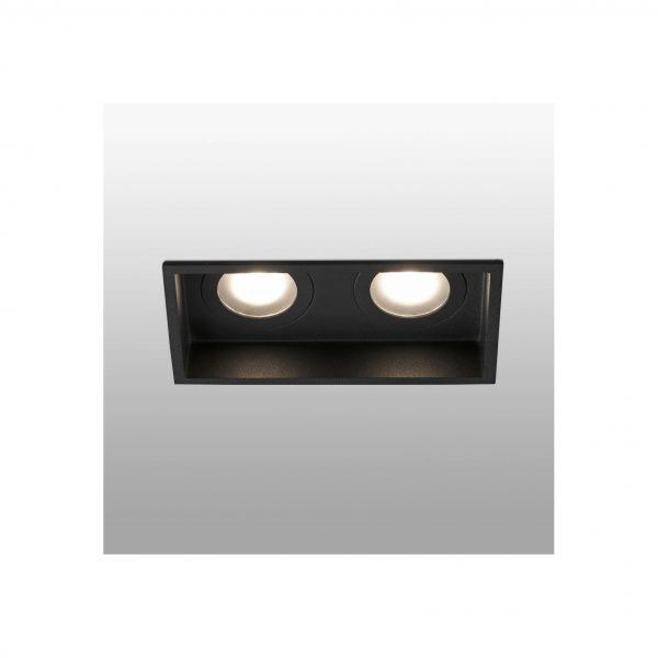 Bedroom lighting, Recessed light HYDE square 2L black