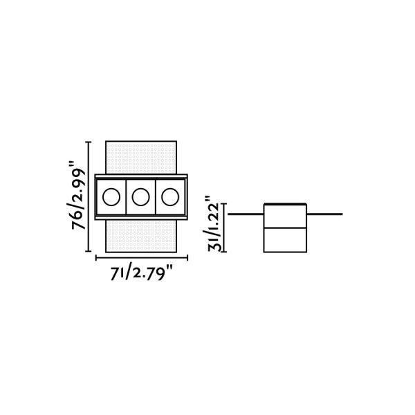 Berėmiai užglaistomi šviestuvai, Įleidžiamas berėmis šviestuvas TROOP-3