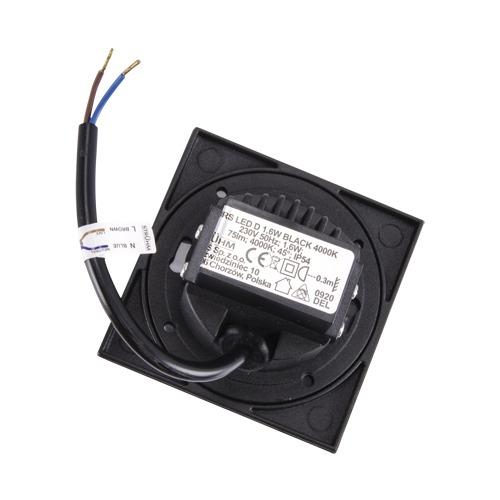 Corridor lighting, Recessed wall light KURS LED D 1.6W BLACK 4000K