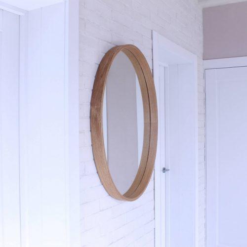 Rankų darbo mediniai šviestuvai, Medinis veidrodis su šviesos šaltiniu Model 2 ø92 x70cm
