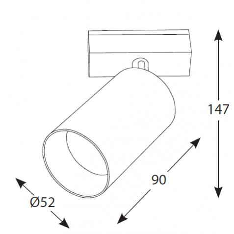 Magnetinės apšvietimo sistemos, INSIGHT SPOT prožektorius į 48V bėgelių sistemą, 3000K, 30°, juoda/balta