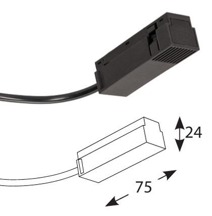 Magnetinės apšvietimo sistemos, INSIGHT FEED CABLE bėgelio užbaigimas su užmaitinimo galimybe 150cm