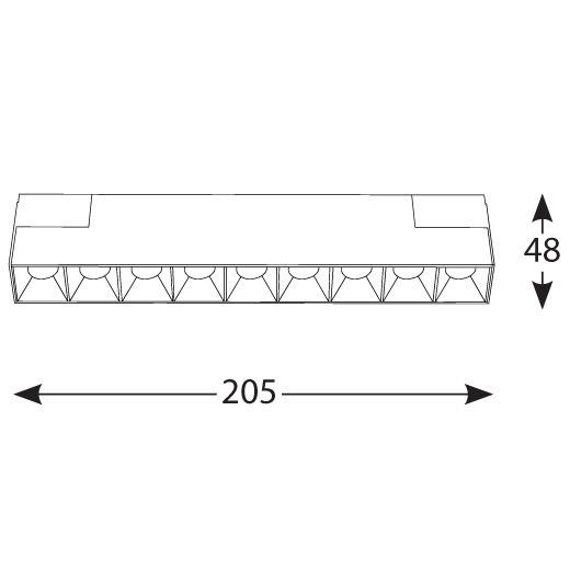 Bėginės sistemos, INSIGHT DARK LIGHT šviestuvas į 48V bėgelių sistemą, 12W, 3000K, 35°, juodas