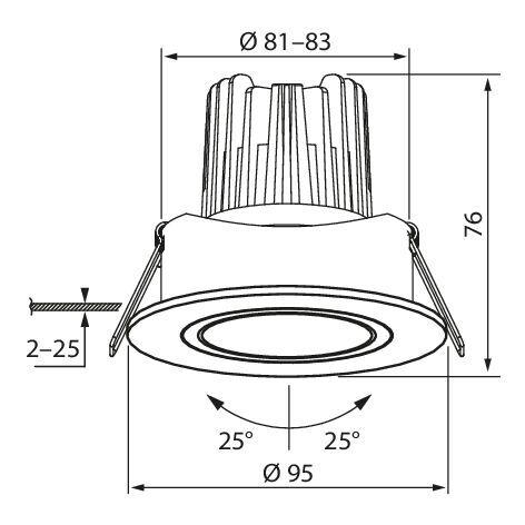AIRAM, Įleidžiamas kraipomas šviestuvas Cosy LED 7W IP44