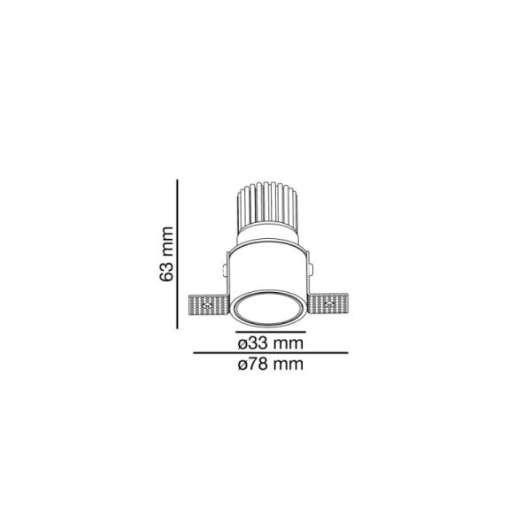 Berėmiai užglaistomi šviestuvai, Įleidžiamas priglaistomas šviestuvas FOX 3-5W 350-500mA 2700K 25° TRIMLESS 02101101