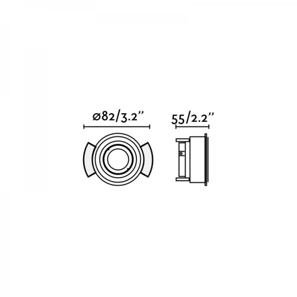 Berėmiai užglaistomi šviestuvai, Įleidžiamas berėmis užglaistomas kryptinis šviestuvas HYDE round juodas